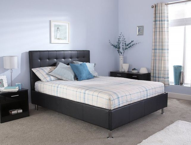 Naples Kingsize Black Faux Leather Upholstered Bed