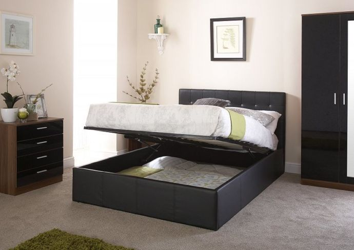 Naples Double Ottoman Storage Bed Black Faux Leather