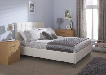 Naples Double White Faux Leather Upholstered Bed