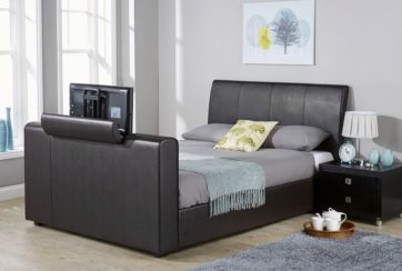 New York Double TV Bed Black Faux Leather