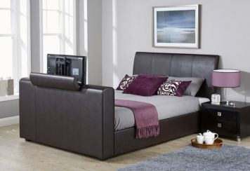 New York Double TV Bed Brown Faux Leather
