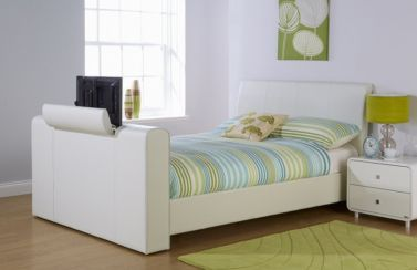 New York Double TV Bed White Faux Leather