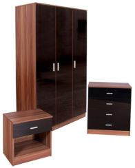 Ottawa Black High Gloss And Walnut 3 Door 3 Piece Bedroom Set