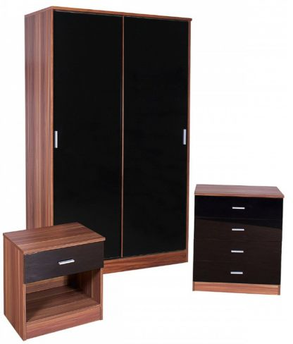 Ottawa Black High Gloss And Walnut Sliding Wardrobe 3 Piece Bedroom Set