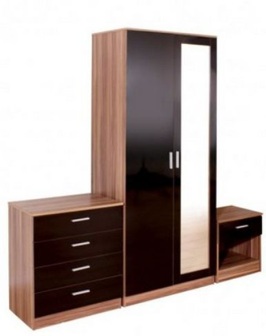 Ottawa Black High Gloss And Walnut 3 Piece Bedroom Set