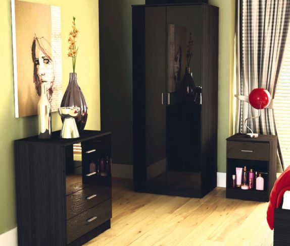 Ottawa Black High Gloss And Black Oak 3 Piece Bedroom Set