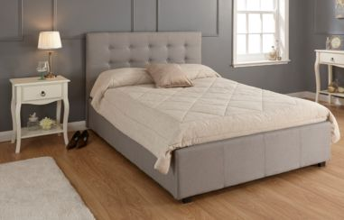 Regal Double Grey Fabric Storage Bedstead