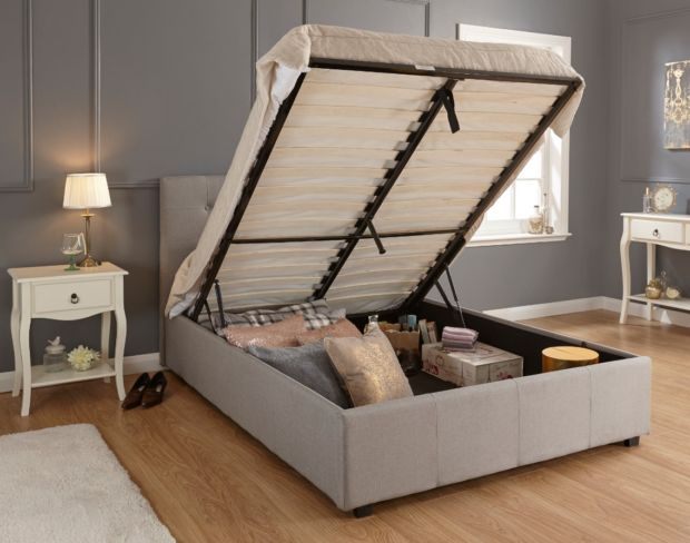 Regal Kingsize Grey Fabric Storage Bedstead