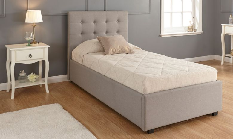 Regal Single Grey Fabric Storage Bedstead