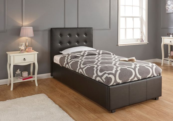Regal Single Gaslift Storage Ottoman Bed Black