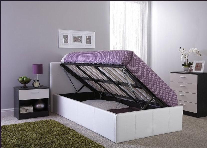 Side Lift Kingsize Ottoman Storage Bed White Faux Leather