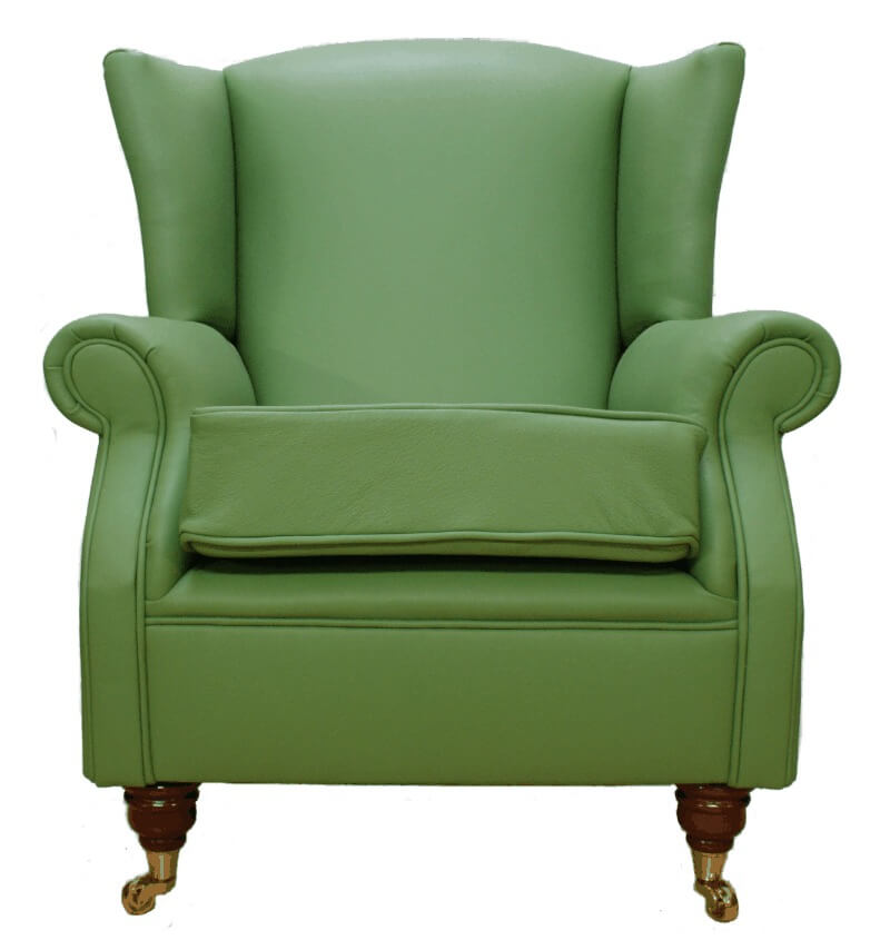 Awe Inspiring Wing Chair Fireside High Back Leather Armchair Apple Green Leather Camellatalisay Diy Chair Ideas Camellatalisaycom