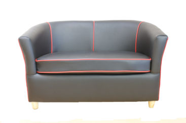 Leather Tub Bucket Chair Black with Red Trim