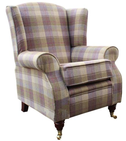 Arnold Wool Tweed Wing Chair Fireside High Back Armchair Hunting Tower Grape Check Fabric