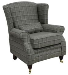 Arnold Wool Tweed Wing Chair Fireside High Back Armchair Harewood Graphite Check Fabric