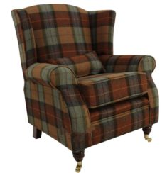 Arnold Wool Tweed Wing Chair Fireside High Back Armchair Skye Burnt Orange Check Fabric