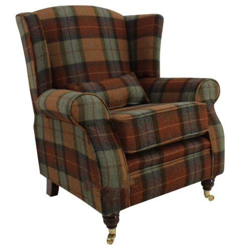 Wool Tweed Wing Chair |High Back Armchair Skye Burnt Orange Check Wool