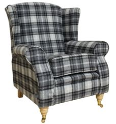 Arnold Wool Tweed Wing Chair Fireside High Back Armchair Fernie Grey Check Fabric