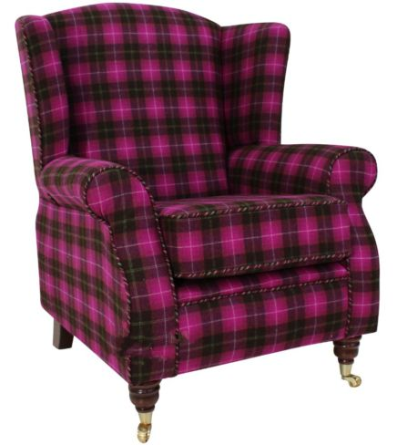 Arnold Wool Tweed Wing Chair Fireside High Back Armchair Wimbledon Multi Pink Check Fabric