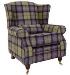 Arnold Wool Tweed Wing Chair Fireside High Back Armchair Plaid Blackberry Crumble Check Fabric
