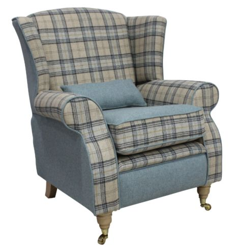 Arnold Wool Tweed Wing Chair Fireside High Back Armchair Plaid Bamburgh And Earth Eau De Nil