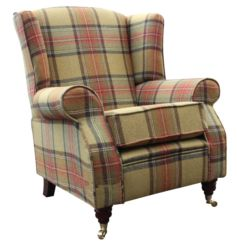 Arnold Wool Tweed Wing Chair Fireside High Back Armchair Beningborough Goldcrest Check Fabric