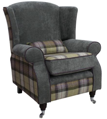 Arnold Wool Tweed Wing Chair Fireside High Back Armchair Skye Moonstone Wool And Keira plain Pewter