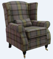 Arnold Wool Tweed Wing Chair Fireside High Back Armchair Wool Plaid Olive Grove Check
