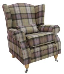 Arnold Wool Tweed Wing Chair Fireside High Back Armchair Skye Moonstone Check Tartan