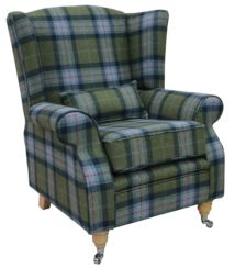 Arnold Wool Tweed Wing Chair Fireside High Back Armchair Skye Olivine Check Tartan