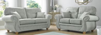 Claremont 3+2 Vulcan Chalk Fabric Sofa Suite