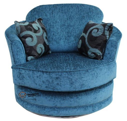 Cuddler Swivel Chair | Snuggle Swivel Armchair Carlton Teal Fabric