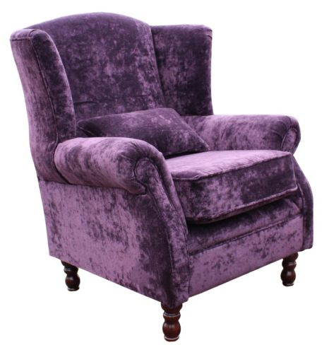 Denbigh Wing Chair Fireside High Back Armchair Elegance Aubergine Velvet