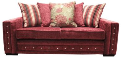 Envy Diamante Crystal 3 Seater Fabric Sofa Upholstered In Balcony Flame