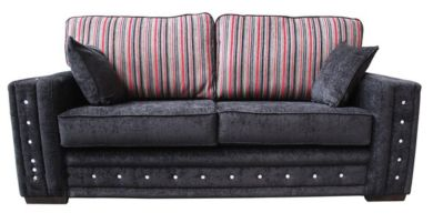 Envy Diamante Crystal 3 Seater Fabric Sofa Upholstered In Argent Stripe Black