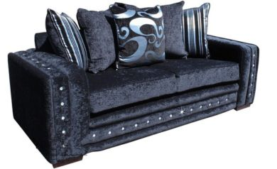 Envy Diamante Crystal 3 Seater Fabric Sofa Upholstered In Trinity Black