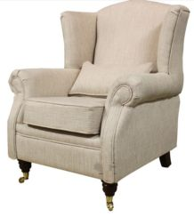 Wing Chair Fireside High Back Armchair Zoe Plain Biscuit