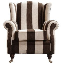 Wing Chair Fireside High Back Armchair Harrison Stripe Brown