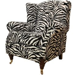 Wing Chair Fireside High Back Armchair Zebra