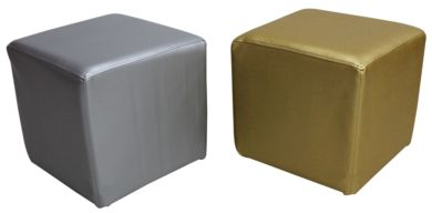 2 x Footstool Cubes Pouffe Batani Gold And Silver Faux Leather