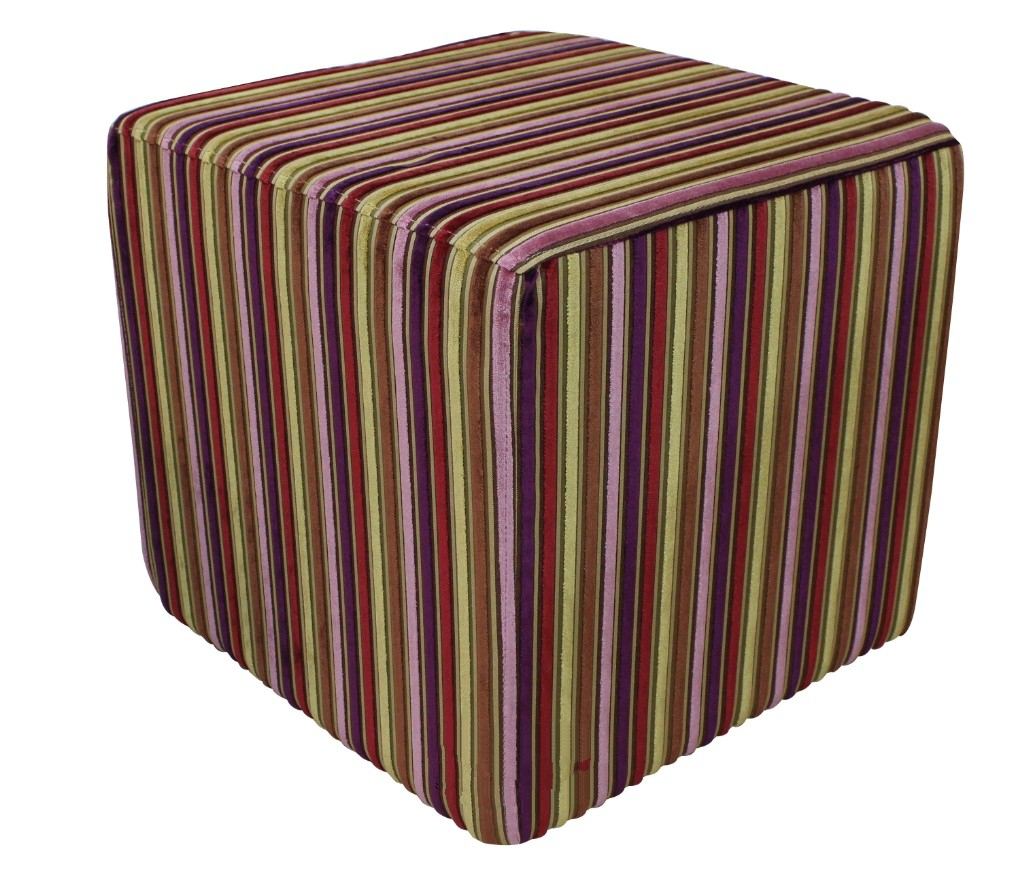 footstool cube pouffe riga multi stripe velvet fabric. Black Bedroom Furniture Sets. Home Design Ideas