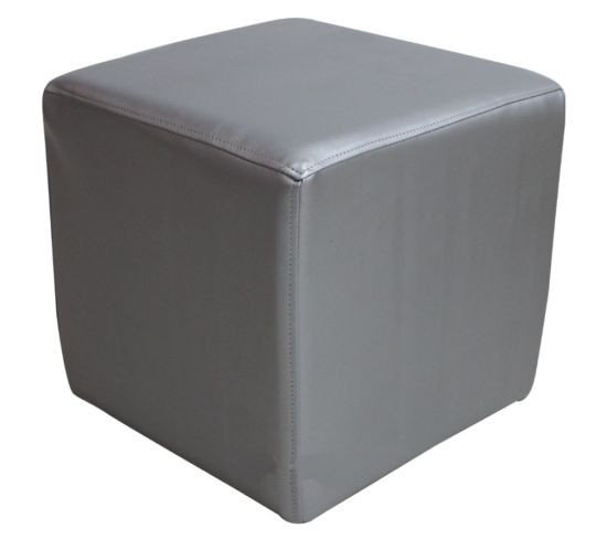 Footstool Cube Pouffe Batani Silver Faux Leather