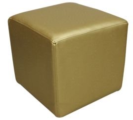Footstool Cube Pouffe Batani Gold Faux Leather