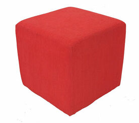 Footstool Cube Pouffe Chenille Fabric red