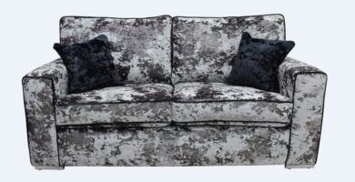 Glastonbury 2 Seater Settee Lustro Flint Grey Velvet Sofa Offer