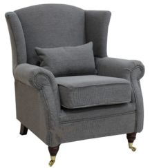 Wing Chair Fireside High Back Armchair Verity Steel Grey
