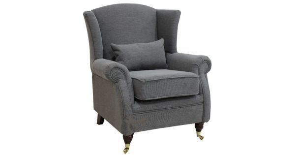 Wing Chair Fireside High Back Armchair Verity Steel Grey