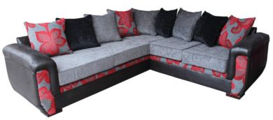 Julia Designer 3 Seater + Corner + 2 Seater Fabric Corner Suite Floral Charcoal/Red