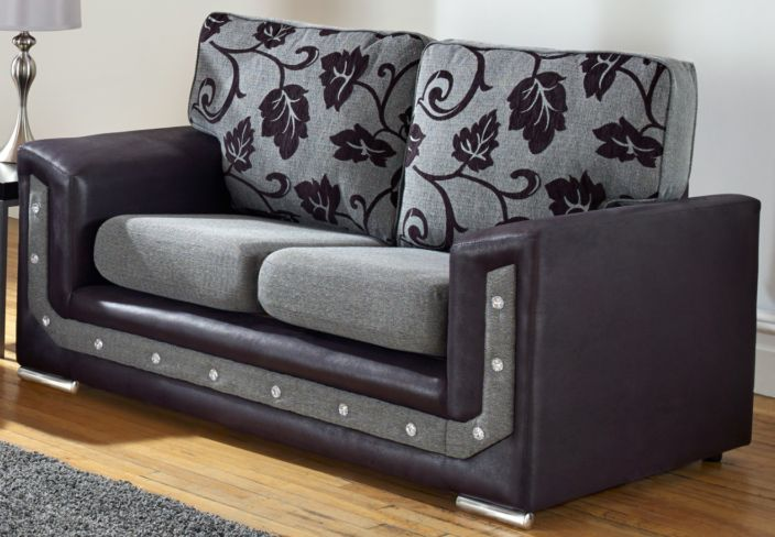 Las Vegas 2 Seater Diamante Crystal Grey Fabric Sofa Settee