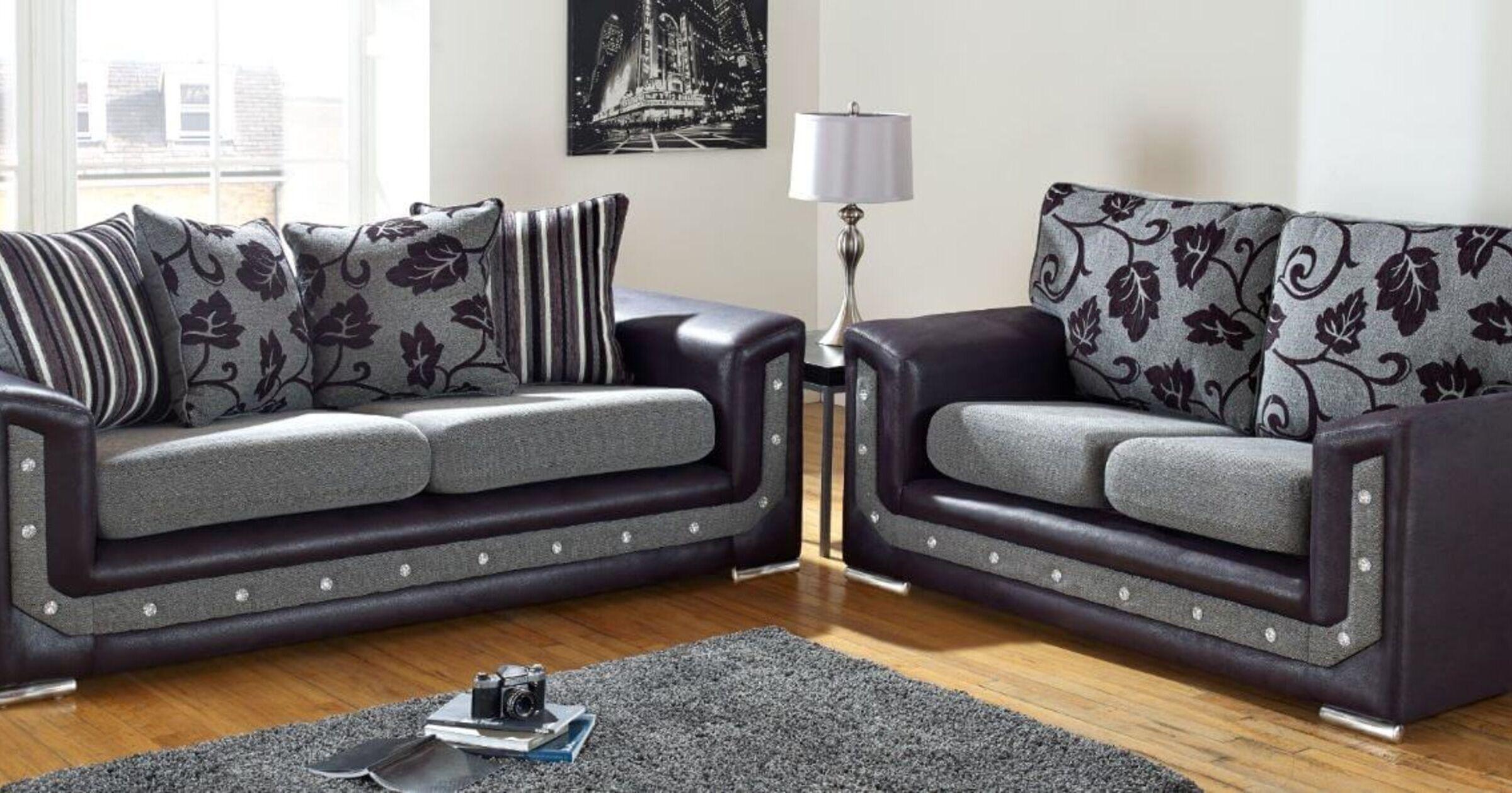 Fabric Settee Suite Set International Delivery Designersofas4u